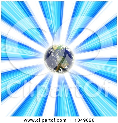 Royalty-Free (RF) Clip Art Illustration of Planet Earth Glowing In A Blue Vortex by Arena Creative