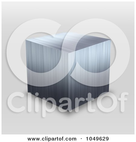 Royalty-Free (RF) Clip Art Illustration of a 3d Stainless Steel Metallic Cube by Arena Creative