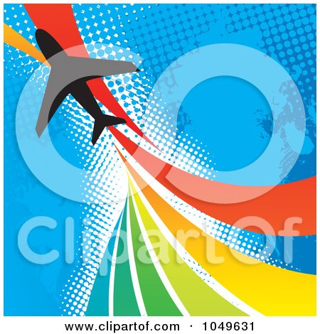 Royalty-Free (RF) Clip Art Illustration of a Silhouetted Plane Over A Rainbow Twist On Blue Halftone by Arena Creative