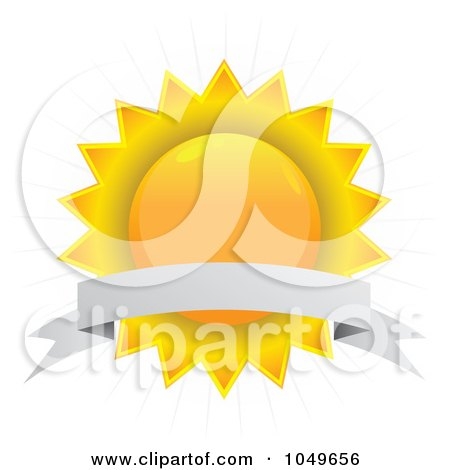 Royalty-Free (RF) Clip Art Illustration of a Blank Banner Over A Sun Seal by Arena Creative