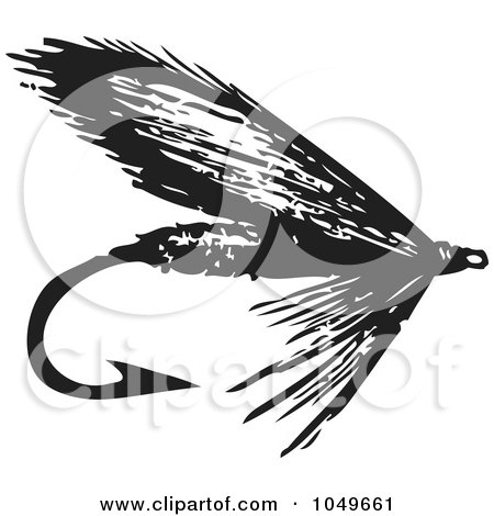 Royalty-Free (RF) Clip Art Illustration of a Black And White Retro Fly Fishing Hook - 2 by BestVector