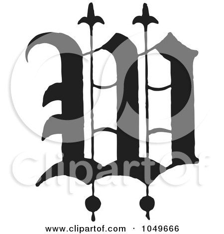 Royalty Free RF Clip Art Illustration Of A Black And White Old English Abc Letter W By BestVector