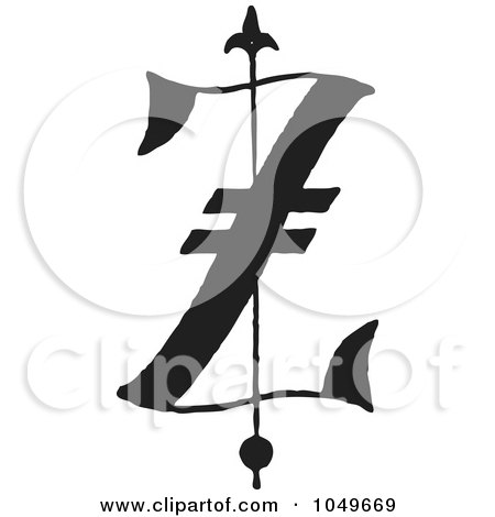 Royalty-Free (RF) Clip Art Illustration of a Black And White Old English Abc Letter Z by BestVector