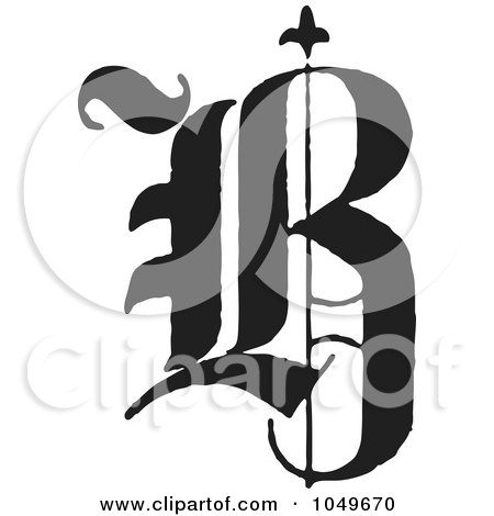 Royalty-Free (RF) Clip Art Illustration of a Black And White Old English Abc Letter B by BestVector