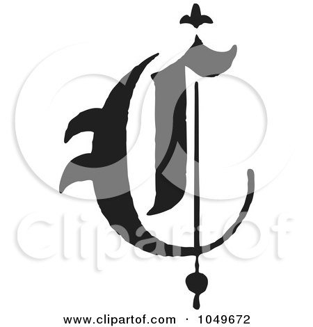 Royalty-Free (RF) Clip Art Illustration of a Black And White Old English Abc Letter C by BestVector