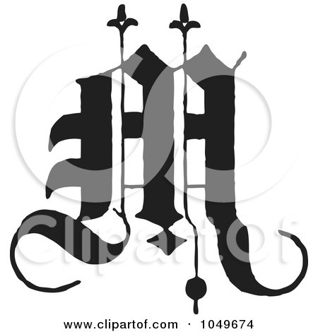 Royalty-Free (RF) Clip Art Illustration of a Black And White Old English Abc Letter M by BestVector
