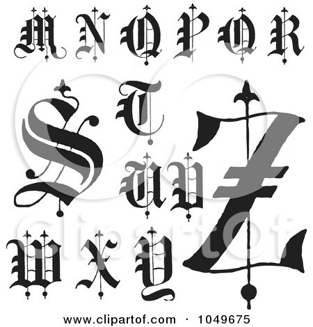 Of A Digital Collage Black And White Old English Abc Letters