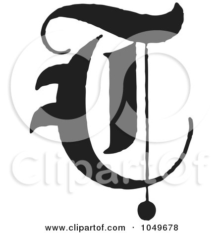 Royalty Free RF Clip Art Illustration Of A Black And White Old English Abc Letter T By BestVector