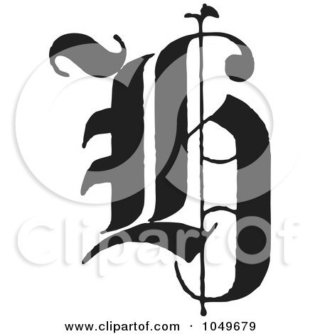 Royalty-Free (RF) Clip Art Illustration of a Black And White Old English Abc Letter H by BestVector