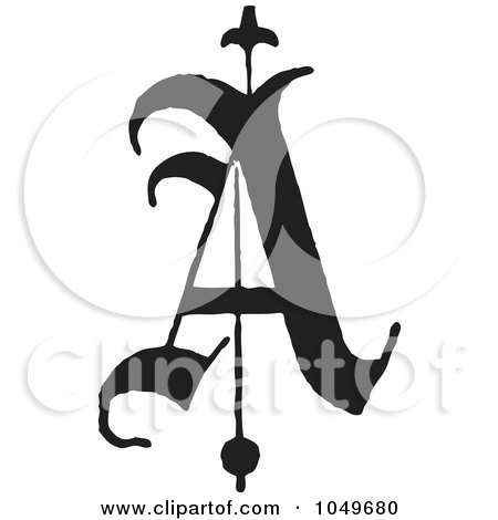 Royalty-Free (RF) Clip Art Illustration of a Black And White Old English Abc Letter A by BestVector