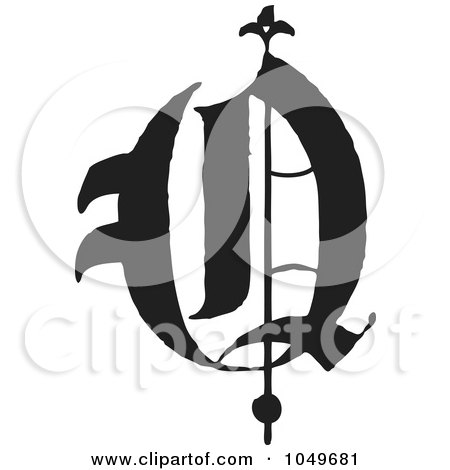 Royalty-Free (RF) Clip Art Illustration of a Black And White Old English Abc Letter Q by BestVector