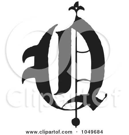 Royalty-Free (RF) Clip Art Illustration of a Black And White Old English Abc Letter O by BestVector