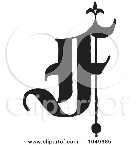 Royalty Free RF Clip Art Illustration Of A Black And White Old English Abc Letter F By BestVector