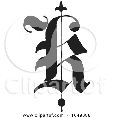 Royalty-Free (RF) Clip Art Illustration of a Black And White Old English Abc Letter K by BestVector