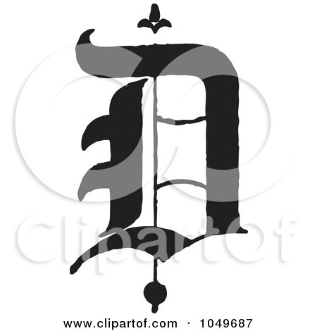 Royalty-Free (RF) Clip Art Illustration of a Black And White Old English Abc Letter D by BestVector