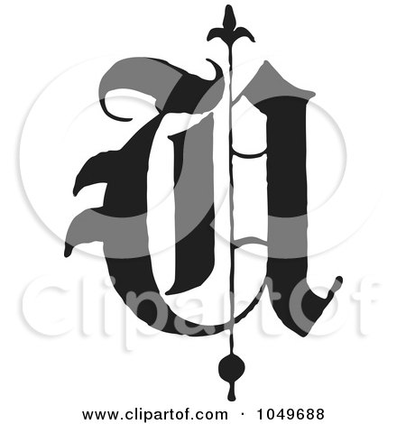 Royalty-Free (RF) Clip Art Illustration of a Black And White Old English Abc Letter U by BestVector