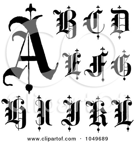 Royalty-Free (RF) Clip Art Illustration of a Digital Collage Of Black And White Old English Abc Letters A Through L by BestVector