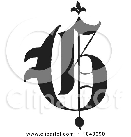 Royalty-Free (RF) Clip Art Illustration of a Black And White Old English Abc Letter G by BestVector