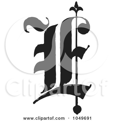 Royalty-Free (RF) Clip Art Illustration of a Black And White Old English Abc Letter E by BestVector
