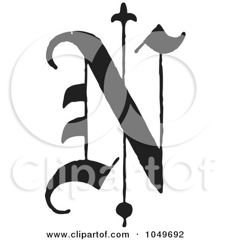 Royalty-Free (RF) Clip Art Illustration of a Black And White Old English Abc Letter N by BestVector