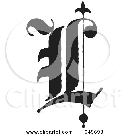 Royalty-Free (RF) Clip Art Illustration of a Black And White Old English Abc Letter L by BestVector