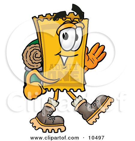 Clipart Picture of a Yellow Admission Ticket Mascot Cartoon Character Hiking and Carrying a Backpack by Toons4Biz