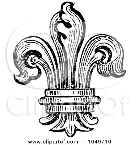 Royalty-Free (RF) Clip Art Illustration of a Vintage Black And White Fleur De Lys Logo by BestVector