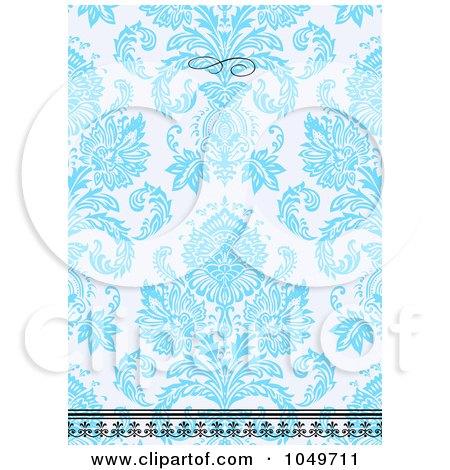 Royalty-Free (RF) Clip Art Illustration of a Blue Floral Pattern Invitation Design Background - 5 by BestVector