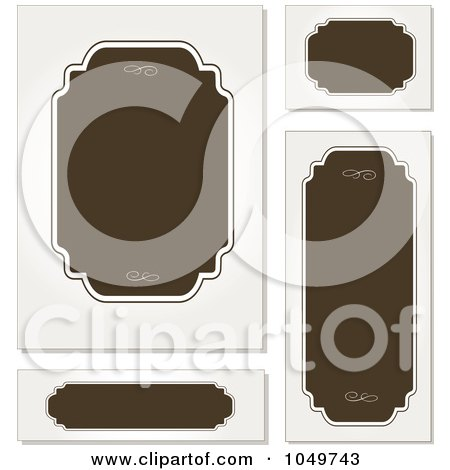 Royalty-Free (RF) Clip Art Illustration of a Digital Collage Of Brown And Off White Blank Labels by BestVector