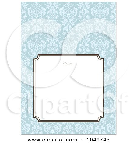 Royalty-Free (RF) Clip Art Illustration of a Blue Floral Pattern Invitation Design Background - 2 by BestVector