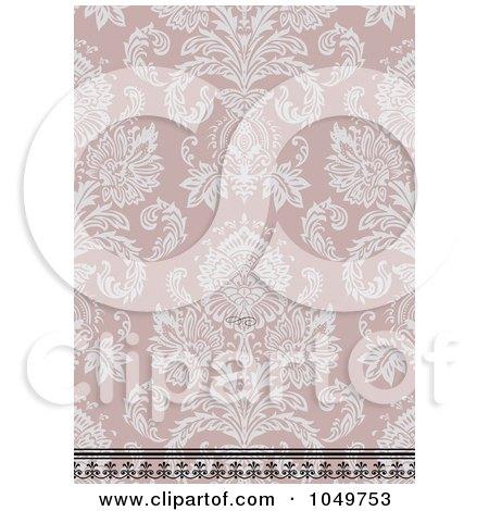 Royalty-Free (RF) Clip Art Illustration of a Vintage Pink Damask Floral Invitation Background by BestVector