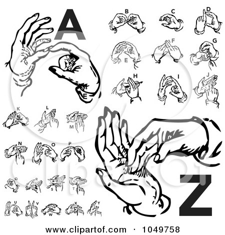 Royalty-Free (RF) Clip Art Illustration of a Digital Collage Of Retro Black And White Alphabet Sign Language Hands, A Through Z by BestVector