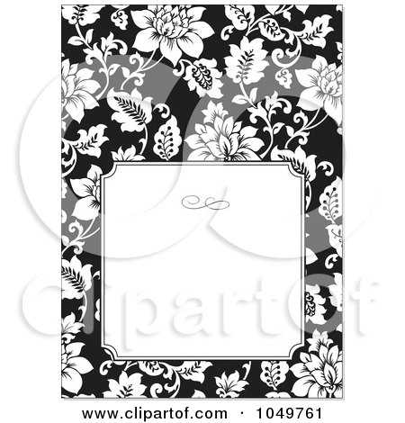 Royalty-Free (RF) Clip Art Illustration of a Black And White Floral Design Invitation With White Copyspace by BestVector