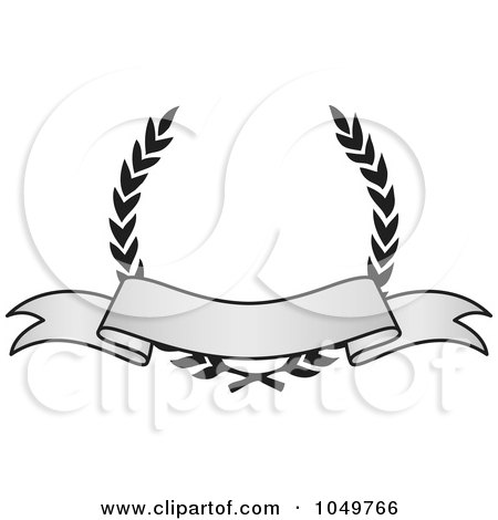 Royalty-Free (RF) Clip Art Illustration of a Vintage Grayscale Award Crest And Blank Banner - 1 by BestVector