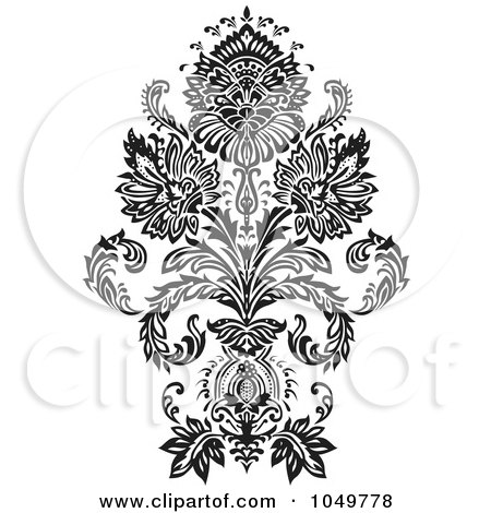 Royalty-Free (RF) Clip Art Illustration of a Black Vintage Elegant Damask Design Element - 1 by BestVector