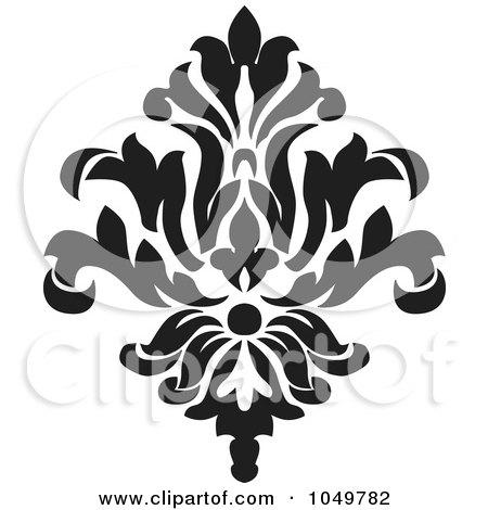 Royalty-Free (RF) Clip Art Illustration of a Black Vintage Elegant Damask Design Element - 6 by BestVector