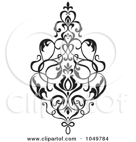 Royalty-Free (RF) Clip Art Illustration of a Black Vintage Elegant Damask Design Element - 2 by BestVector
