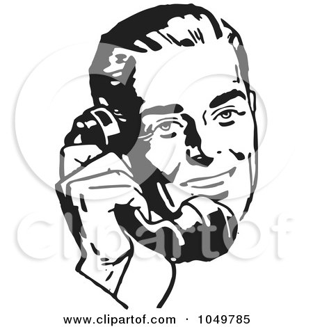 Royalty-Free (RF) Clip Art Illustration of a Retro Black And White Businessman Using A Phone - 2 by BestVector