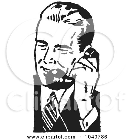 Royalty-Free (RF) Clip Art Illustration of a Retro Black And White Businessman Using A Phone - 5 by BestVector