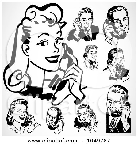 Royalty-Free (RF) Clip Art Illustration of a Digital Collage Of Retro Black And White Men And Women Using Phones by BestVector