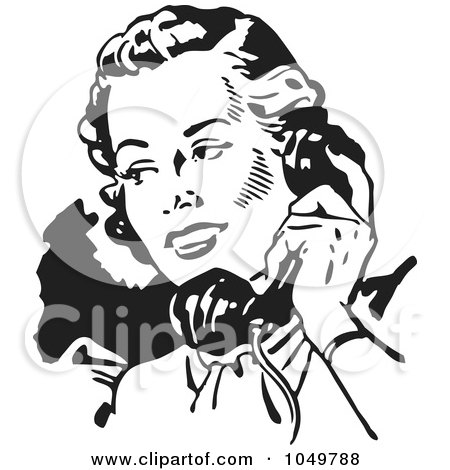 Royalty-Free (RF) Clip Art Illustration of a Black And White Retro Lady Talking On A Phone - 2 by BestVector