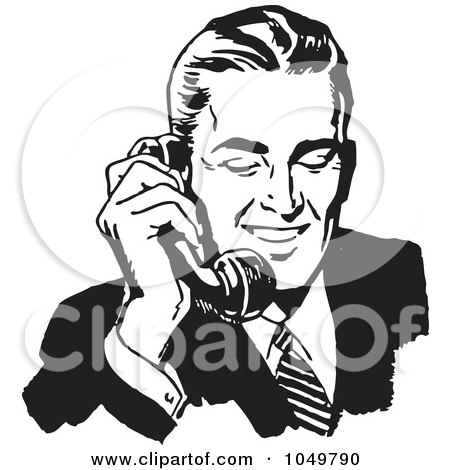 Royalty-Free (RF) Clip Art Illustration of a Retro Black And White Businessman Using A Phone - 1 by BestVector