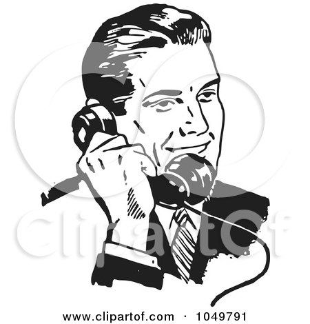 Royalty-Free (RF) Clip Art Illustration of a Retro Black And White Businessman Using A Phone - 3 by BestVector