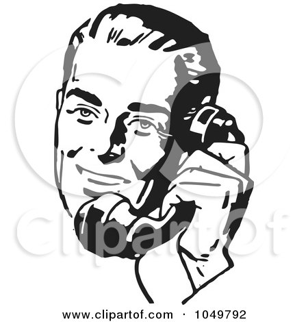 Royalty-Free (RF) Clip Art Illustration of a Retro Black And White Businessman Using A Phone - 4 by BestVector