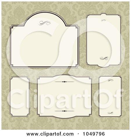 Royalty-Free (RF) Clip Art Illustration of a Digital Collage Of Beige Labels Over Tan Damask by BestVector
