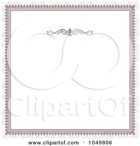 Royalty-Free (RF) Clip Art Illustration of a Red Victorian Frame And Gray Around White Copyspace by BestVector