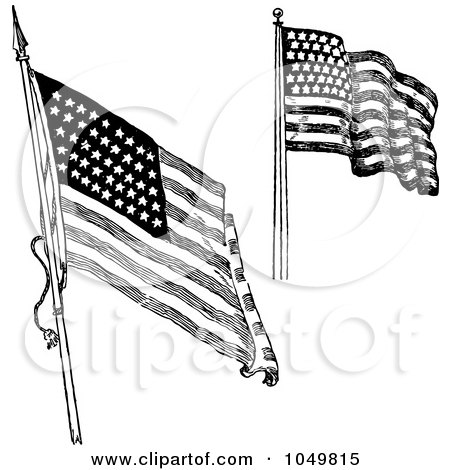 Royalty-Free (RF) Clip Art Illustration of a Digital Collage Of Black And White Retro American Flags Waving by BestVector