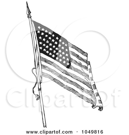 Royalty-Free (RF) Clip Art Illustration of a Black And White Retro American Flag Waving - 1 by BestVector
