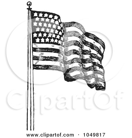 Royalty Free RF Clip Art Illustration Of A Black And White Retro American Flag Waving 2