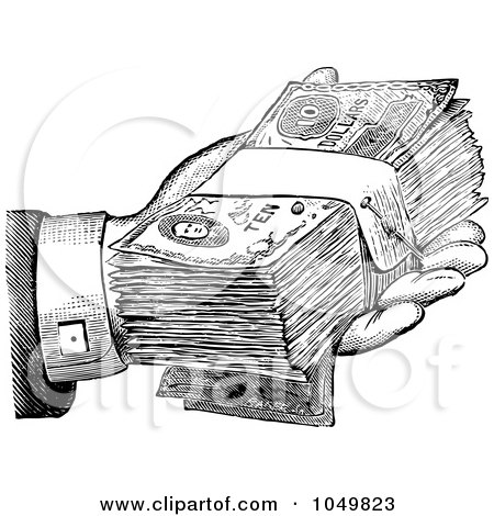 Royalty-Free (RF) Clip Art Illustration of a Black And White Retro Hand Giving Cash by BestVector